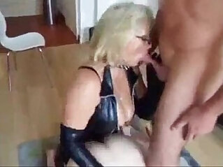 mature in leather fucks guy and sucks cock and gets mouthful